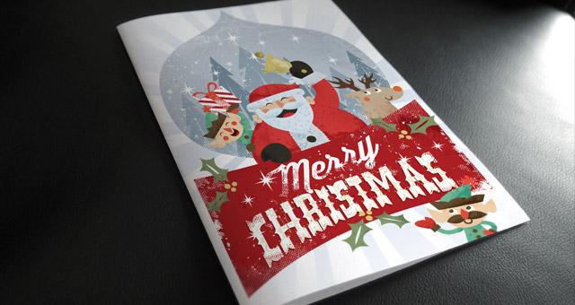 004 merry christmas invitation flyer vector print santa gift 1